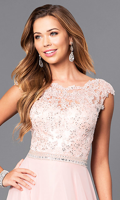 Image of jeweled lace-bodice long prom dress with v-back.  Style: DQ-9675 Detail Image 1