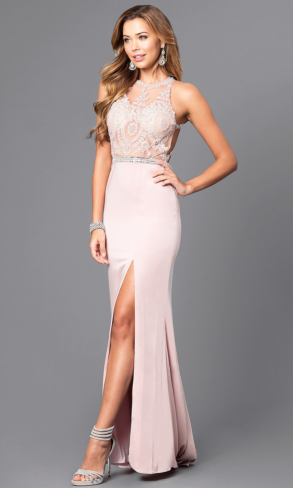 782f59b0f47 Tap to expand · Image of long formal prom dress with beaded lace bodice.