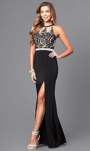 Image of long formal prom dress with beaded lace bodice. Style: DQ-9702 Detail Image 1