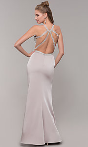 Image of long formal prom dress with beaded lace bodice. Style: DQ-9702 Detail Image 5