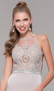 Image of long formal prom dress with beaded lace bodice. Style: DQ-9702 Detail Image 6