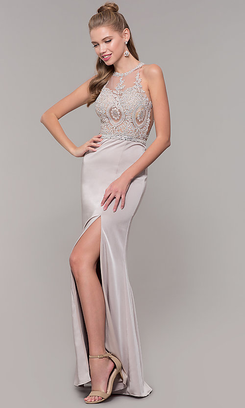 Image of long formal prom dress with beaded lace bodice. Style: DQ-9702 Detail Image 4