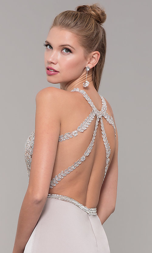 Image of long formal prom dress with beaded lace bodice. Style: DQ-9702 Detail Image 7