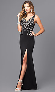 Image of v-neck long prom dress with beaded illusion bodice.  Style: DQ-9704 Detail Image 2