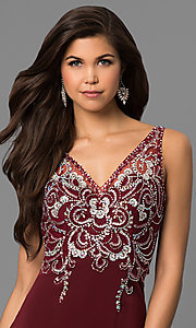 Image of v-neck long prom dress with beaded illusion bodice.  Style: DQ-9704 Detail Image 1