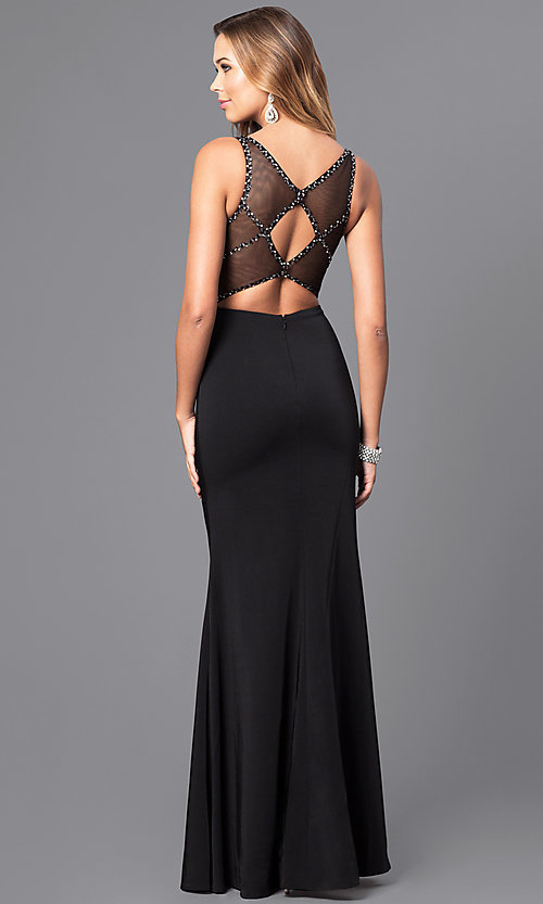 Image of v-neck long prom dress with beaded illusion bodice.  Style: DQ-9704 Back Image