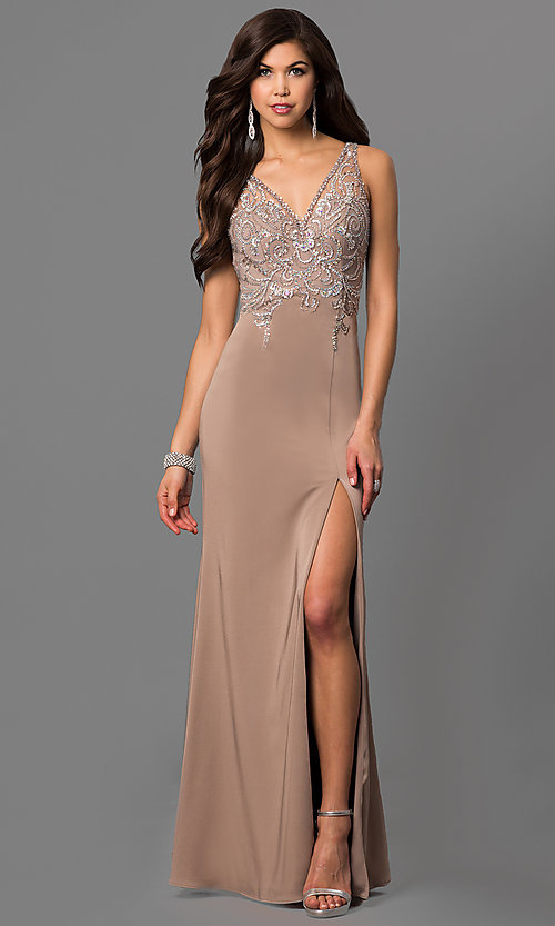 Image of v-neck long prom dress with beaded illusion bodice.  Style: DQ-9704 Detail Image 3