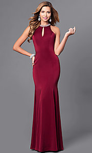 Image of beaded-neck long formal prom dress with cut-out back. Style: DQ-9708 Front Image
