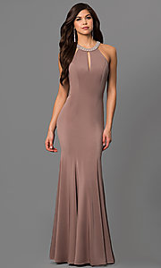 Image of beaded-neck long formal prom dress with cut-out back. Style: DQ-9708 Detail Image 3