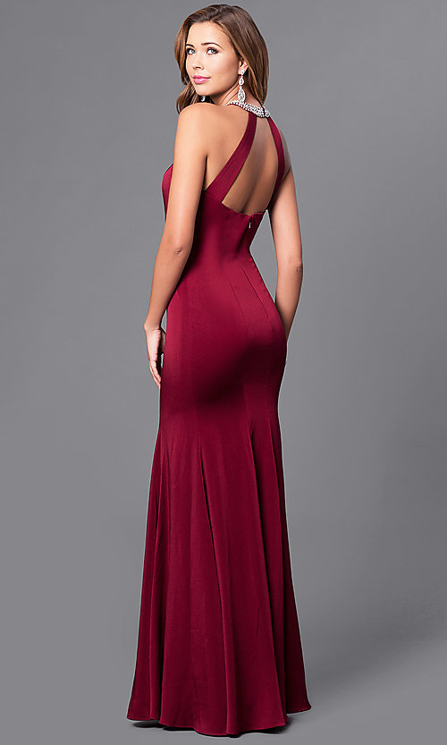 Image of beaded-neck long formal prom dress with cut-out back. Style: DQ-9708 Back Image