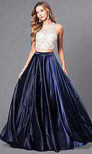 Image of long two-piece formal prom dress with satin skirt. Style: DQ-9716 Front Image