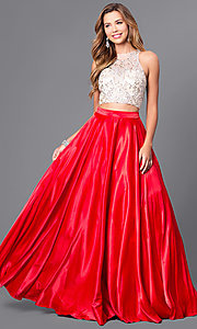 Image of long two-piece formal prom dress with satin skirt. Style: DQ-9716 Detail Image 2