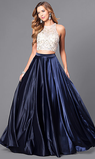 d828af6662 Long Two-Piece Formal Prom Dress with Satin Skirt