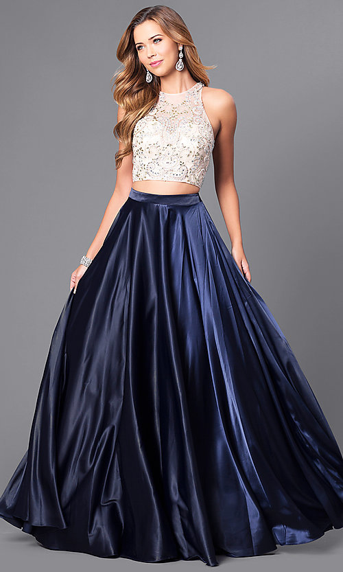 792d4eb0bfb Image of long two-piece formal prom dress with satin skirt. Style  DQ