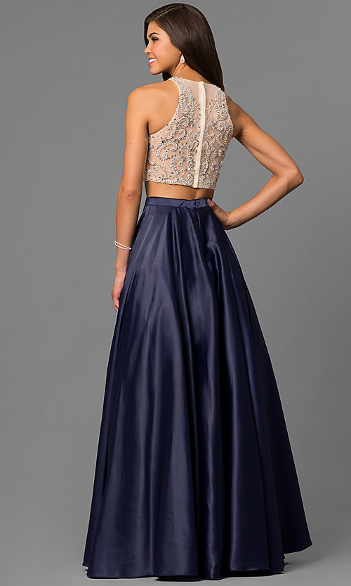 Image of long two-piece formal prom dress with satin skirt. Style: DQ-9716 Back Image