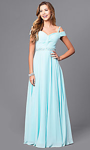 Image of cold-shoulder long prom dress with lace-up corset. Style: DQ-9718 Detail Image 3