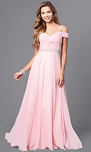 Image of cold-shoulder long prom dress with lace-up corset. Style: DQ-9718 Detail Image 1