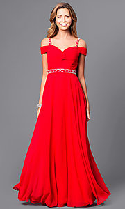 Image of cold-shoulder long prom dress with lace-up corset. Style: DQ-9718 Detail Image 2
