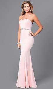 Image of strapless sweetheart long prom dress with beading.  Style: DQ-9720 Detail Image 2