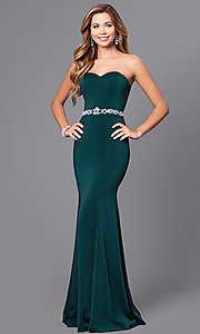 Image of strapless sweetheart long prom dress with beading.  Style: DQ-9720 Front Image