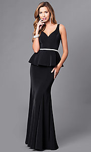 Image of v-neck long formal gown with peplum. Style: DQ-9750 Detail Image 3