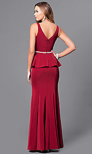 Image of v-neck long formal gown with peplum. Style: DQ-9750 Back Image