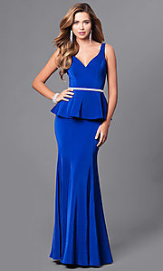 Image of v-neck long formal gown with peplum. Style: DQ-9750 Detail Image 2