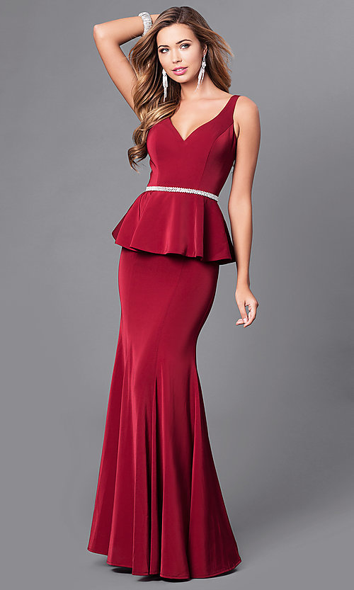 Image of v-neck long formal gown with peplum. Style: DQ-9750 Front Image