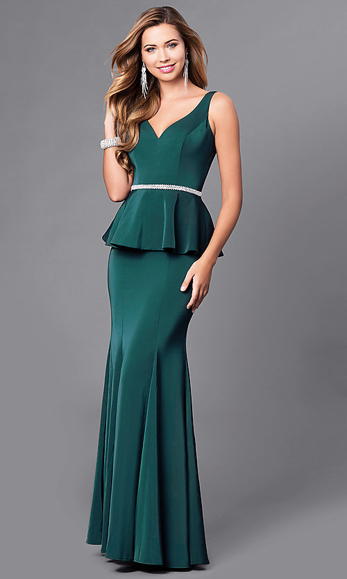 Image of v-neck long formal gown with peplum. Style: DQ-9750 Detail Image 1