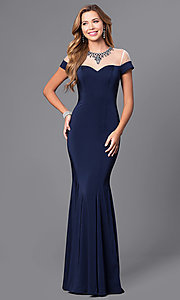 Image of mock off-the-shoulder long prom dress with beading.  Style: DQ-9752 Front Image