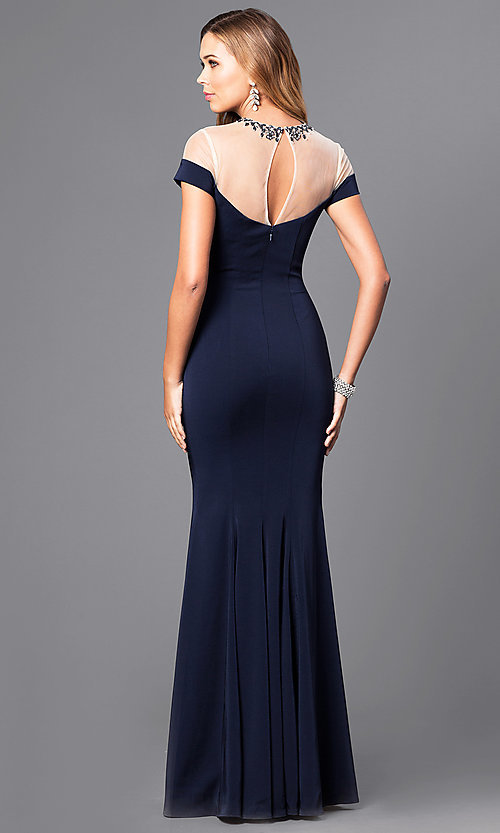 Image of mock off-the-shoulder long prom dress with beading.  Style: DQ-9752 Back Image