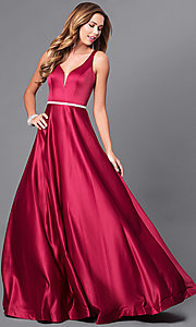 Image of deep v-neck long formal prom dress with beaded waist. Style: DQ-9754 Detail Image 1