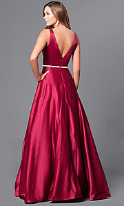 Image of deep v-neck long formal prom dress with beaded waist. Style: DQ-9754 Back Image