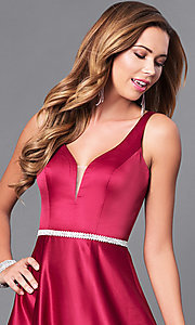 Image of deep v-neck long formal prom dress with beaded waist. Style: DQ-9754 Detail Image 2