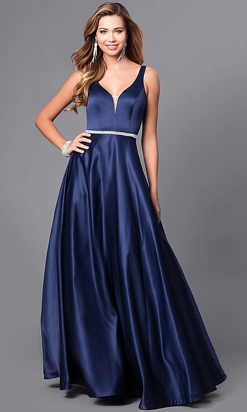 Image of deep v-neck long formal prom dress with beaded waist. Style: DQ-9754 Front Image