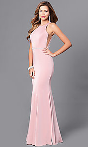 Image of mermaid long prom dress with jeweled waistline. Style: DQ-9757 Front Image