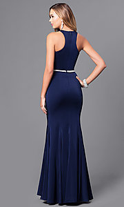 Image of mermaid long prom dress with jeweled waistline. Style: DQ-9757 Back Image