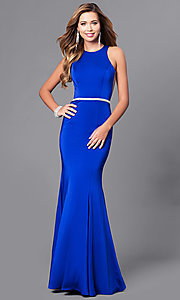 Image of mermaid long prom dress with jeweled waistline. Style: DQ-9757 Detail Image 2