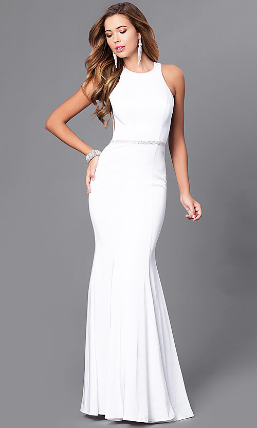 Image of mermaid long prom dress with jeweled waistline. Style: DQ-9757 Detail Image 1