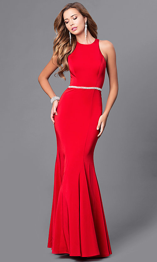 Image of mermaid long prom dress with jeweled waistline. Style: DQ-9757 Detail Image 3