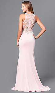 Image of beaded-lace long formal evening dress with train. Style: DQ-9763 Back Image