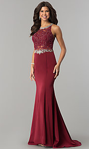Image of beaded-lace long formal evening dress with train. Style: DQ-9763 Detail Image 2