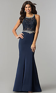 Image of beaded-lace long formal evening dress with train. Style: DQ-9763 Detail Image 3