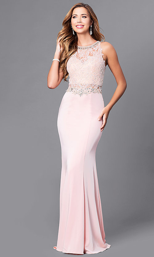 Image of beaded-lace long formal evening dress with train. Style: DQ-9763 Front Image