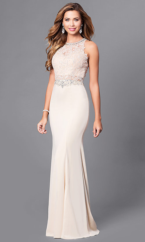 Image of beaded-lace long formal evening dress with train. Style: DQ-9763 Detail Image 1