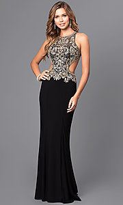 Image of long prom dress with beaded bodice and cut outs. Style: JT-632 Detail Image 1