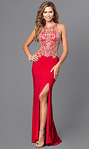 Image of long prom dress with beaded bodice and cut outs. Style: JT-632 Front Image