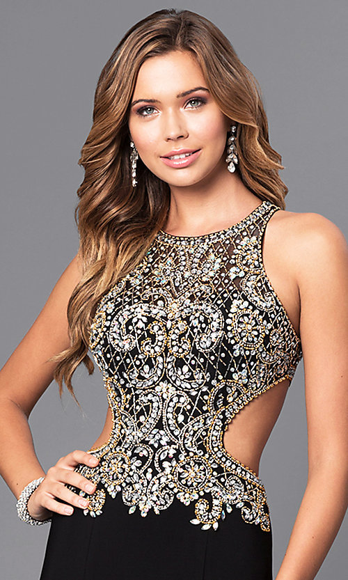 Image of long prom dress with beaded bodice and cut outs. Style: JT-632 Detail Image 2