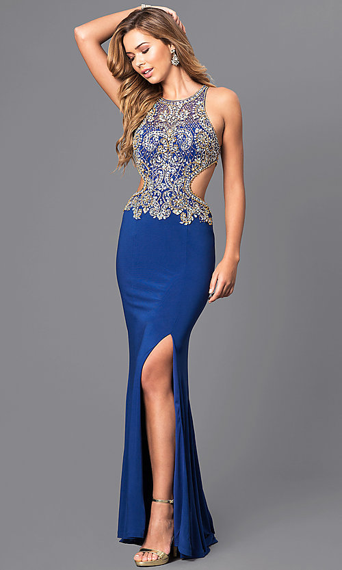Image of long prom dress with beaded bodice and cut outs. Style: JT-632 Detail Image 3