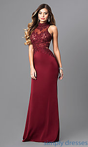 Image of open-back long prom dress with beaded embroidery. Style: FB-GL2225 Front Image